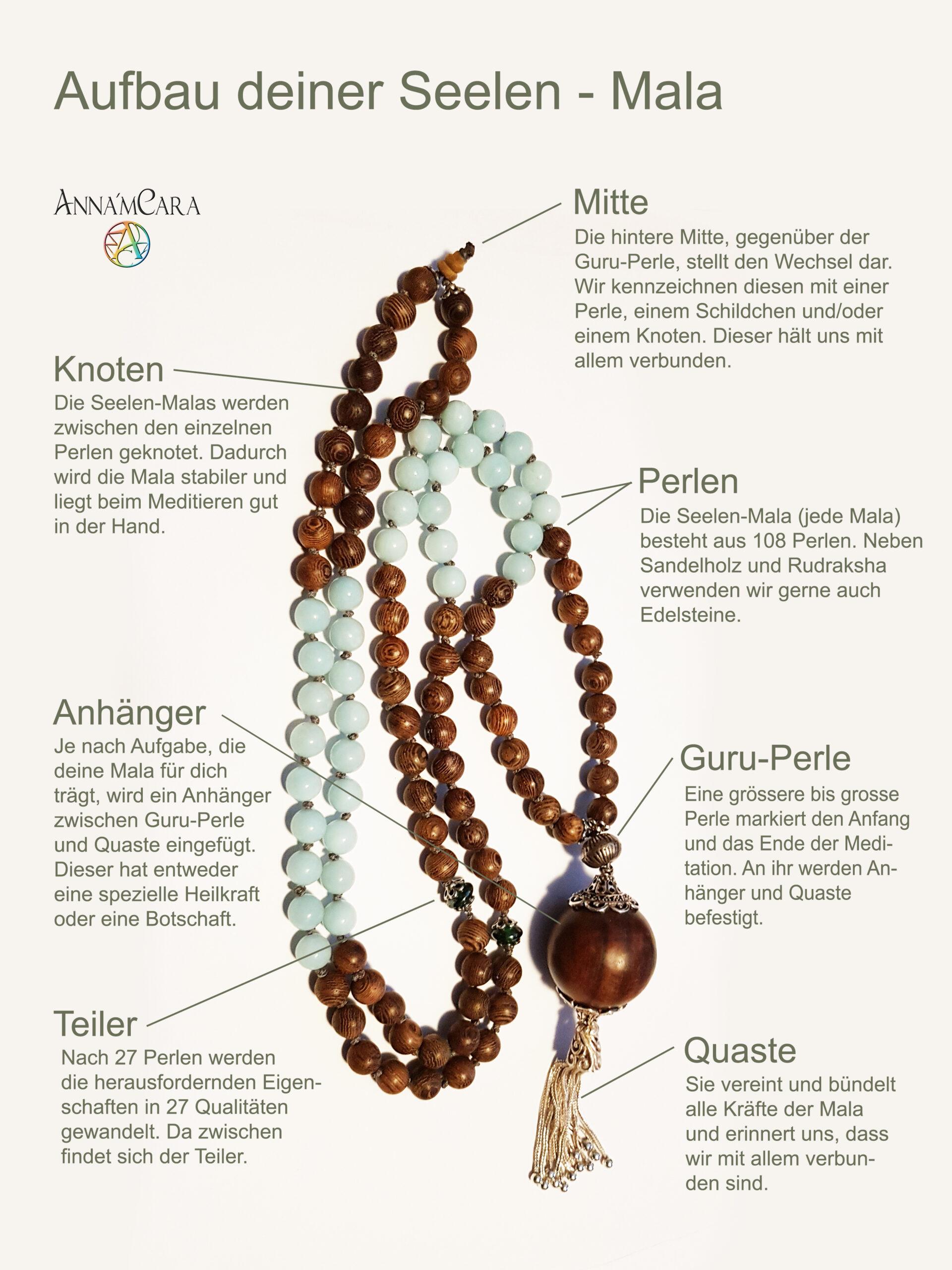 Anna'mCara - Seelenschmuck - Seelenmala - Mala - Perlenkette - Aufbau